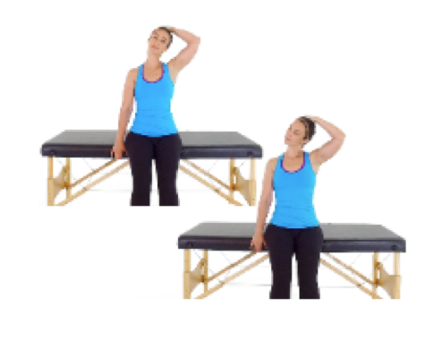 Seated trap stretch, a stretch that stops swelling pain from workouts