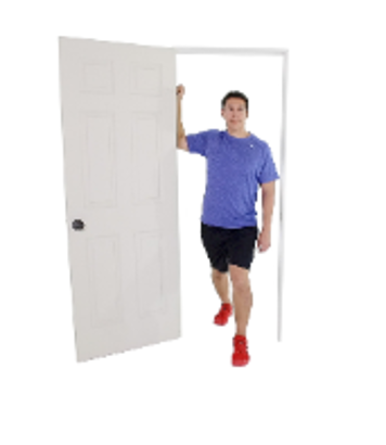 Standing doorway stretch, a stretch that stops swelling pain from workouts