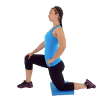 Half hip flexor stretch, a stretch that stops swelling pain from workouts