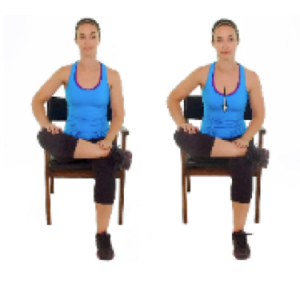 Seated piriformis stretch, a stretch that stops swelling pain from workouts